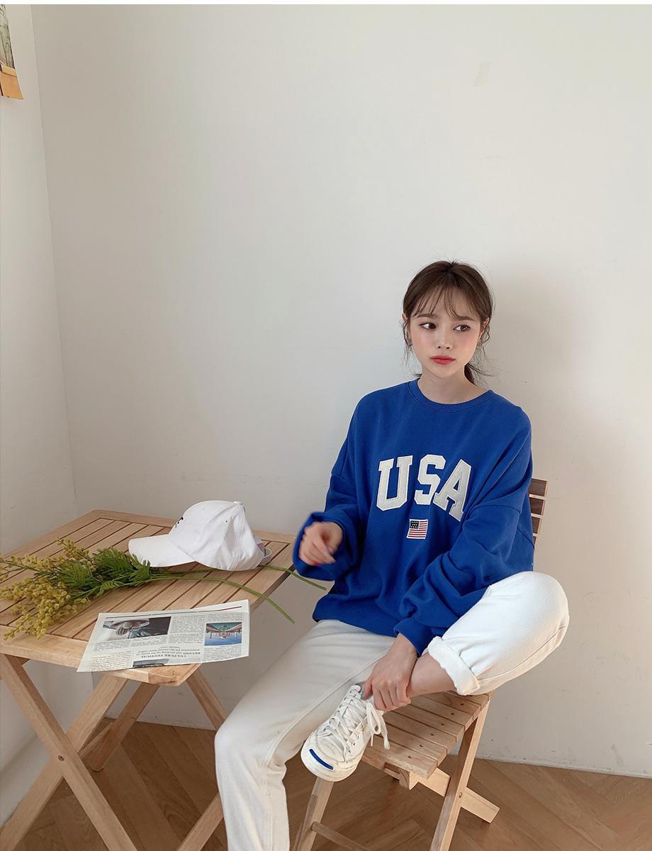 리리앤코 유나잇 오버핏 레터링 맨투맨
